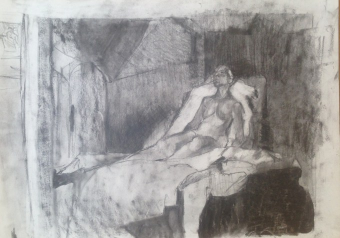 Nude, charcoal on paper.A2
