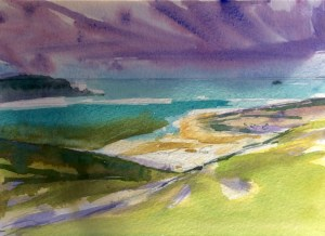 Daymer Storm, watercolour, 15 x 18cm