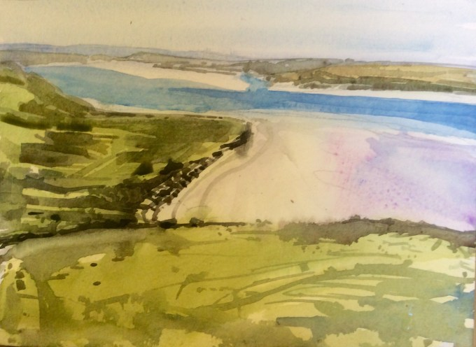 Padstow from Brae Hill, Rock, Cornwall, 18x 15 cm