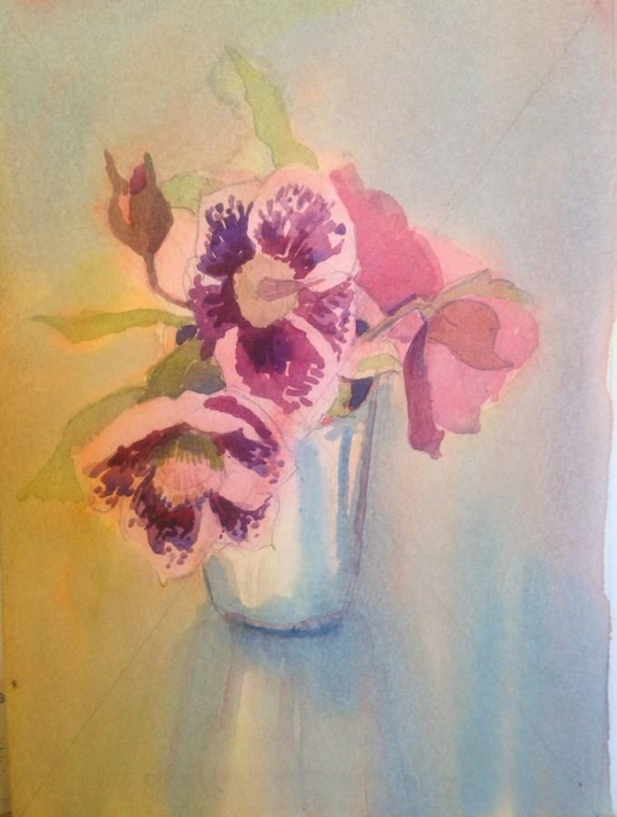 Hellebore, Watercolour, 11 x 15 cm