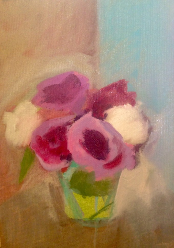 Sophie's Flowers, A Start, oil on board, 18x25cm