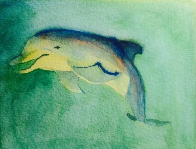 Dolphin, Watercolour, 15 x12 cm