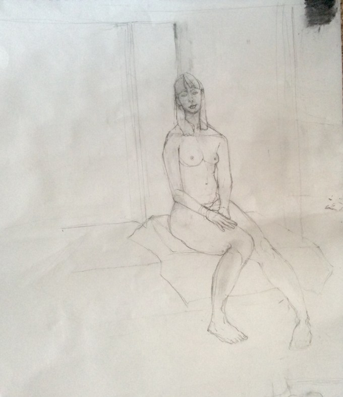 Natasha, graphite and charcoal on paper.