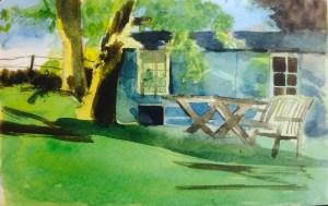 Early Evening, Summer, watercolour, 22 x 11 cm