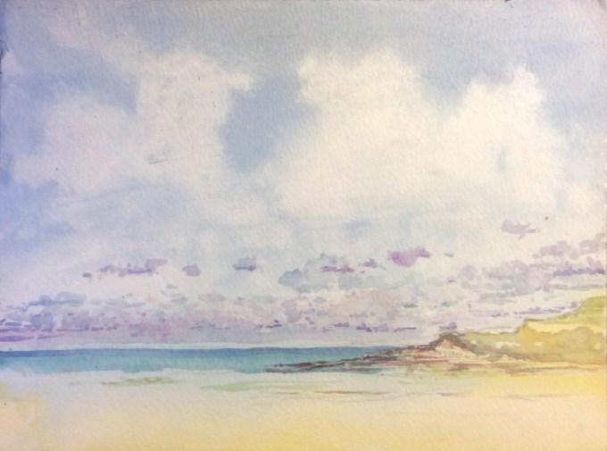 Weird Clouds, Daymer Bay, Watercolour, 30.5 x 22.9 cm