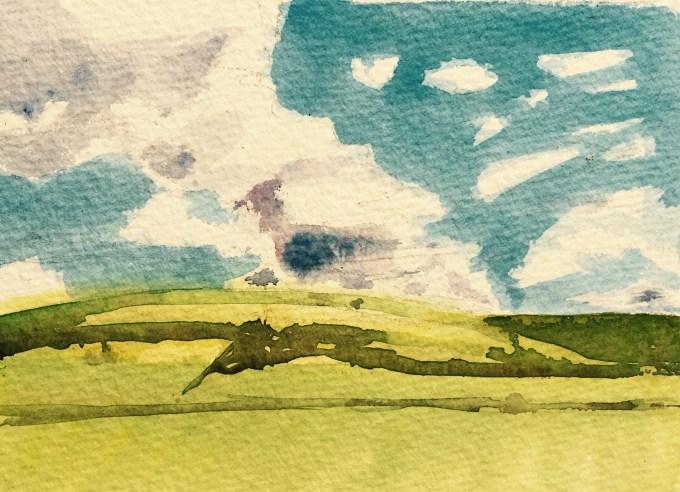 Summer clouds, watercolour 15 x 11 cm