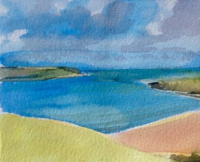 Daymer Bay in Sunshine, Watercolour, 15 x 12 cm