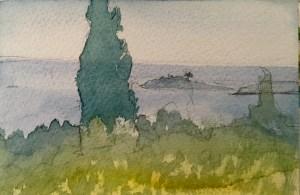 View from Villa Chrissa, watercolour , 12 x 5 cm