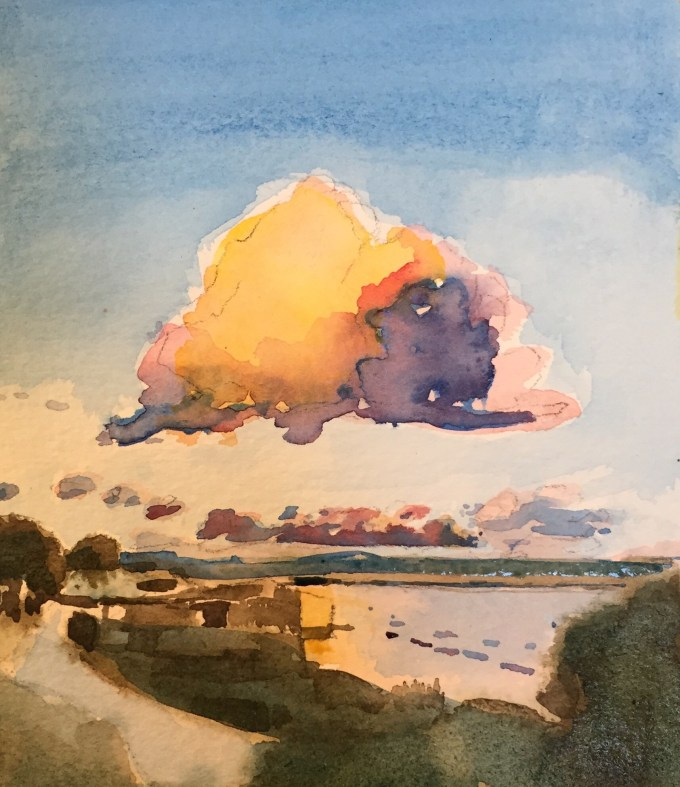 Curious Cloud, Rock Cornwall, Watercolour, 15 x18cm