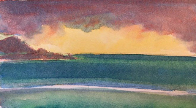 Evening Light, Daymer Bay, Cornwall, Watercolour , 22 x 15 cm