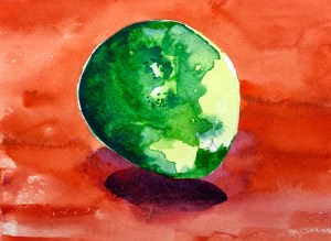 Lime and Shadow, Watercolour, 10 x 5 cm
