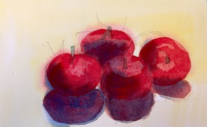 Tomatoes, Watercolour, 22x18 cm