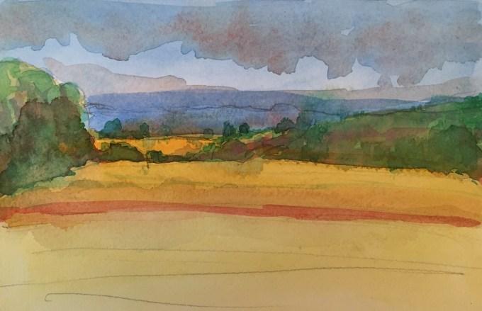 August Fields, Watercolour, 22 x 15 cm