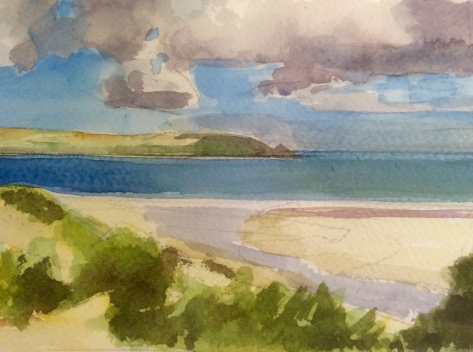 Daymer Bay, August, Watercolour and Gouache, 17x 12 cm.