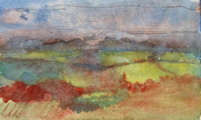 Summer fields, watercolour 12x 15cm