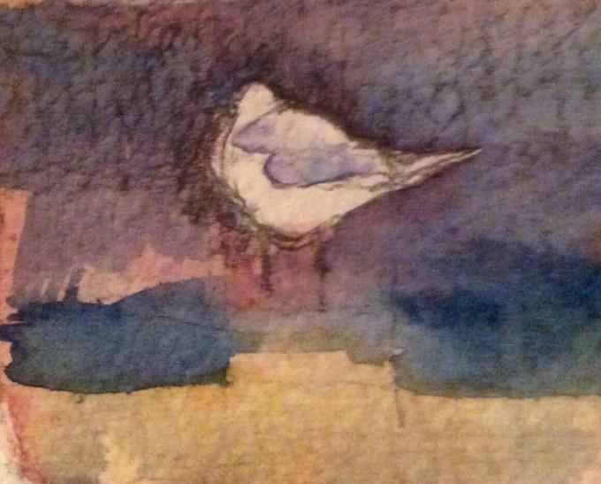 Gull, Watercolour, 10x 5 cm