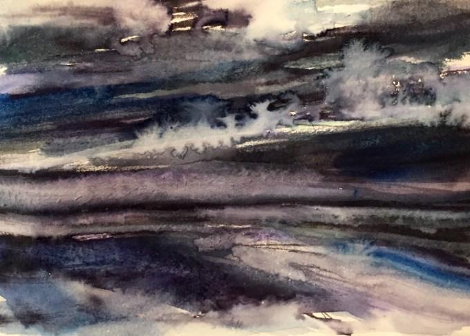 Light Fading, St Ouen, Jersey, watercolour and gouache , 12 x5 cm