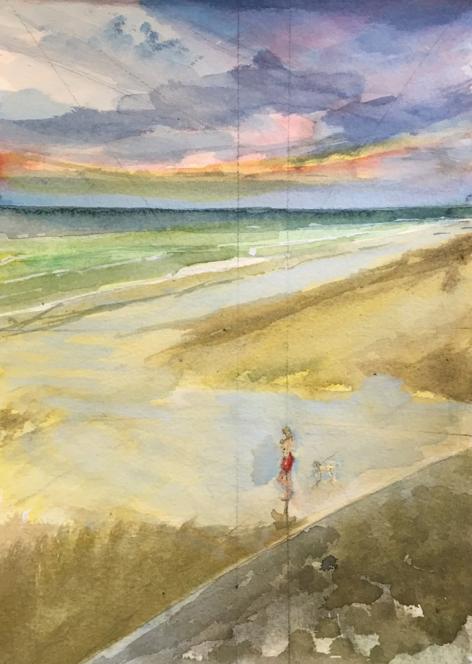 Onto the Beach, St Ouen, Jersey, Watercolour, 22.5 x 17.5 cm