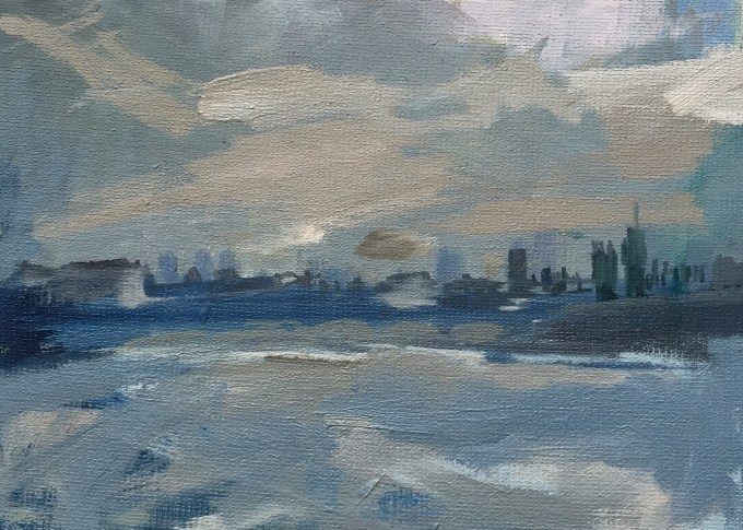 Thames Grey, Oil on Board 18x 12cm