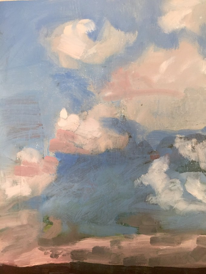 Autumn Clouds, Oil on Board.