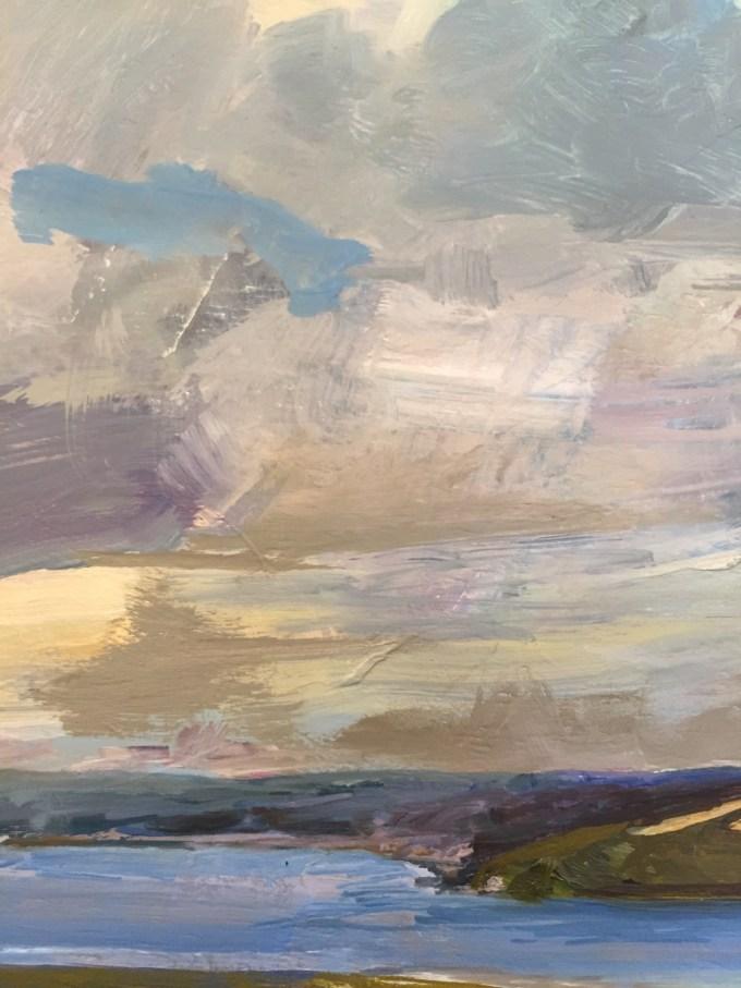 Padstow Sky, oil on board, detail