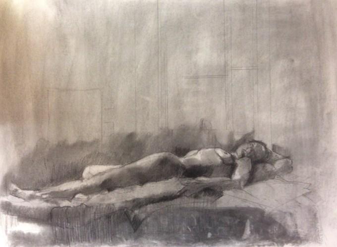 Joanna, Lying, Charcoal on Paper.
