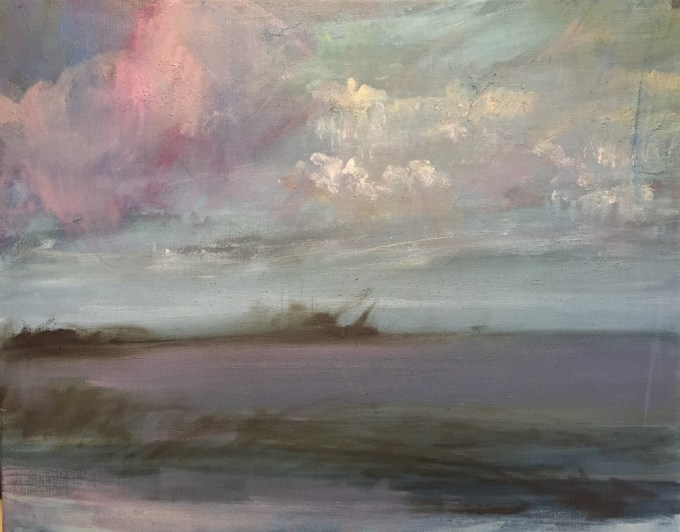 Mauve Clouds, oil on canvas,, 42 x32 cm