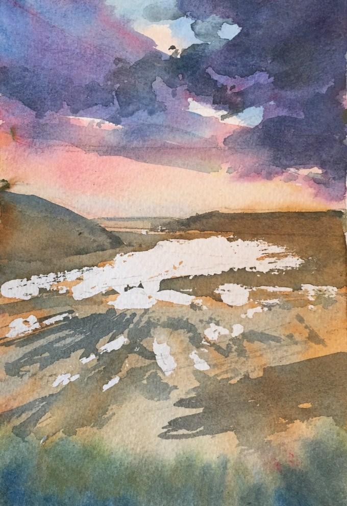 Feb Eve, Daymer Bay, watercolour sketch