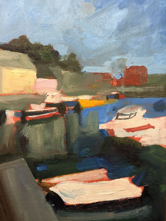 Boats, Padstow, oil on board, 18x 12cm