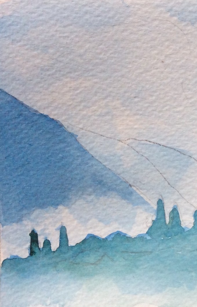 Les Carroz, Easter Monday, watercolour sketch.