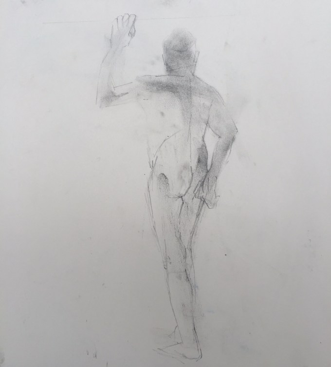 David,graphite and charcoal on paper