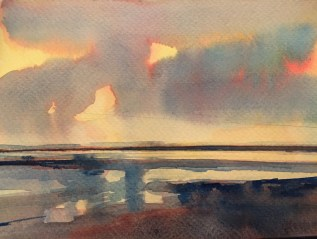 Lemon Sunset, Saunton Sands, exhibits next week March 6th-18th Bankside Gallery, London