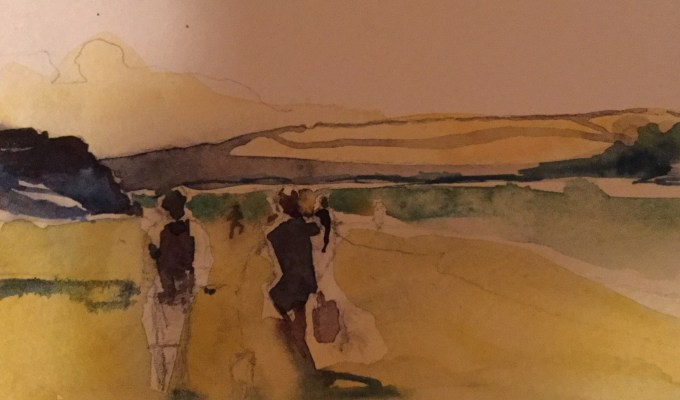 Walking to Rock, Watercolour sketch
