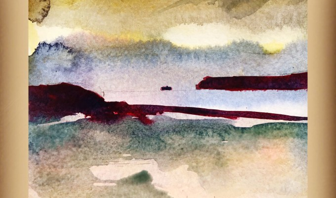 Beach Sketch, Sunset Polzeath, Cornwall.