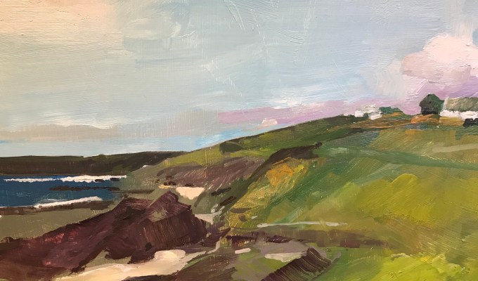 Clouds over Cliff Path, Daymer Bay, Cornwall exhibits next month at Moorwood Art.