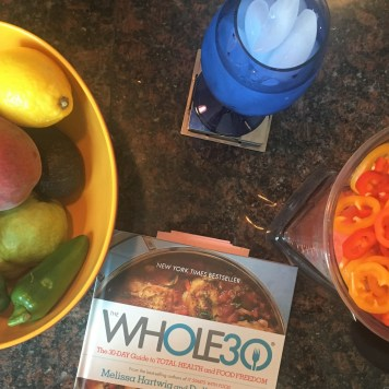 produce bowl, Whole30 tabbed cookbook, and gazpacho pre-blended