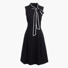 Tall tie-neck dress in Italian wool crepe