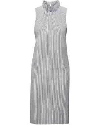 Seersucker Ruffle-Neck Dress