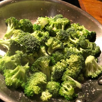 Broccoli about to be covered for steaming.