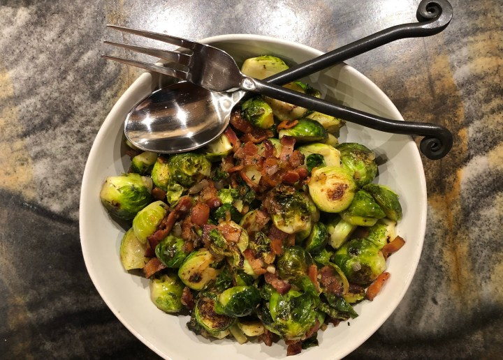 Roasted Brussel Sprouts with Bacon and Thyme // @2souschefs