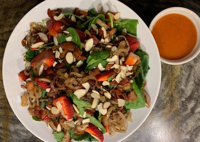 Caramelized Shallots and Strawberry Salad with Spinach, Bacon, and Toasted Almonds // @2souschefs