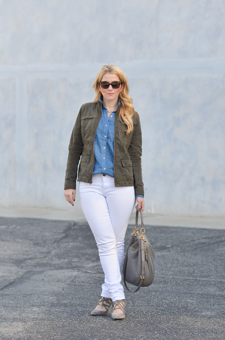 California Tailored Blue Shirt   White Jeans Outfit in Winter