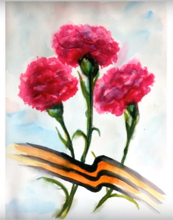 открытка с гвоздиками на 9 мая рисунок отметили службы