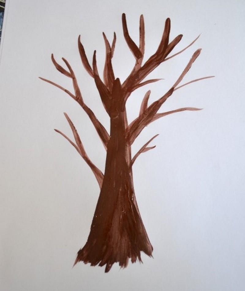 раскидистое дерево рисунок в средней группе