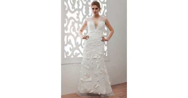 Beautiful V-Neck A-Line Organza Taffeta Wedding Dresses