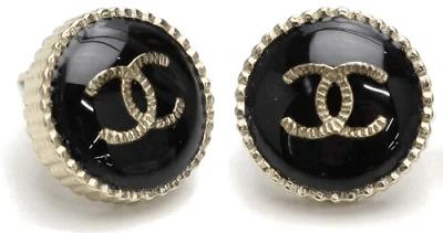 シャネル ピアス ココマーク ブラック×ゴールド CCマーク ラウンドエッジ ボタン シュレッドCCロゴ AB0794