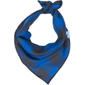 cobalt blue and slate grey checkered dog bandana