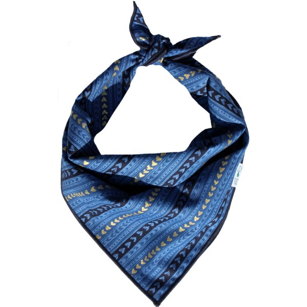 luck of tuck blue and gold dog bandana