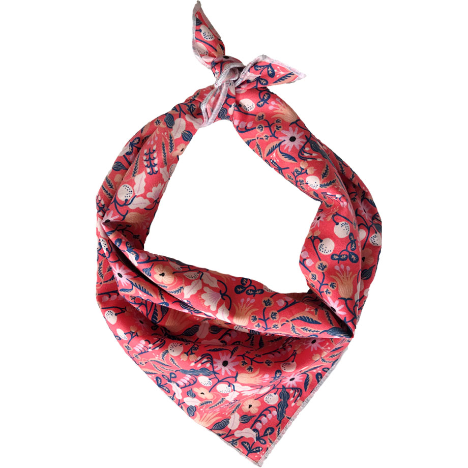 coral floral dog bandana