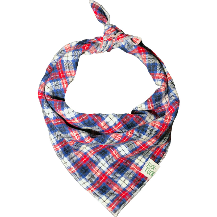 red, white and blue flannel 4th of July dog bandana